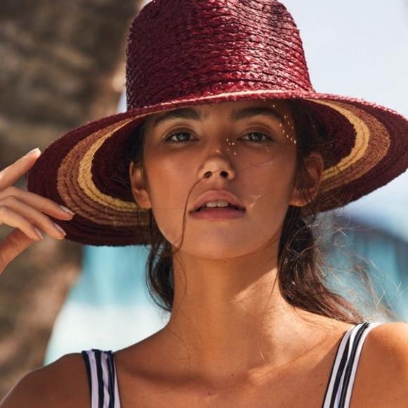 fa43edca3c8 UO Brixton Hampton Colorblock Straw Panama Hat